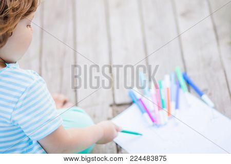 Adorable Little Girl Drawing With Felt-tip Pens Outdoors. Summer Leisure. Talantes Kids, Early Art E