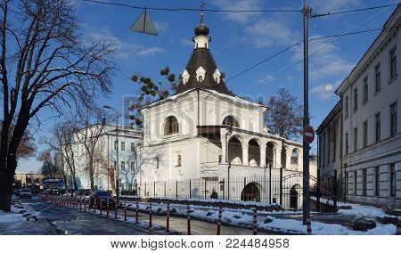 Ancient Church of St. Nicholas the Good in Kiev on the Podol. Winter. An Orthodox stone church, built in Kiev on Podol in 1807, designed by the architect Melensky. Here was the wedding of the writer Mikhail Bulgakov