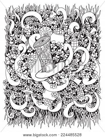 St. Patrick 's Day coloring book page for adults. Vector cartoon hand drawn illustration with pot of gold coin, clover, leprechaun hat and horseshoe isolated on a white background.