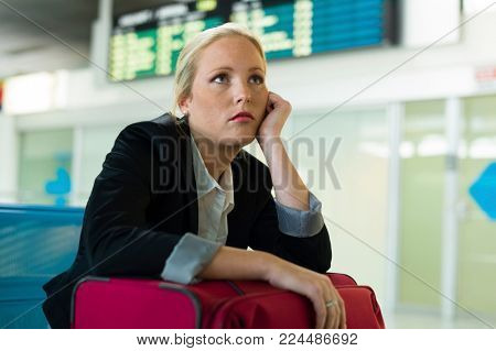 businesswoman is waiting at the airport