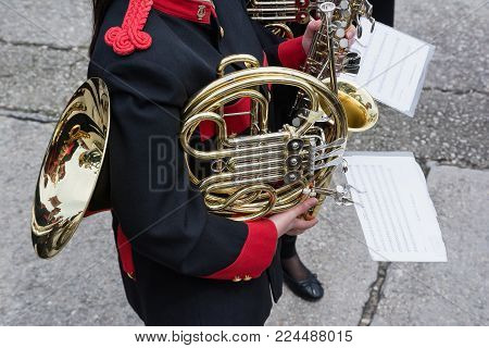 CORFU, GREECE - APRIL 29, 2016: Philharmonic musicians playing in Corfu Easter holiday celebrations. Corfu has a great tradition in music, with 18 philharmonic bands playing a major role on the island's music education and culture.