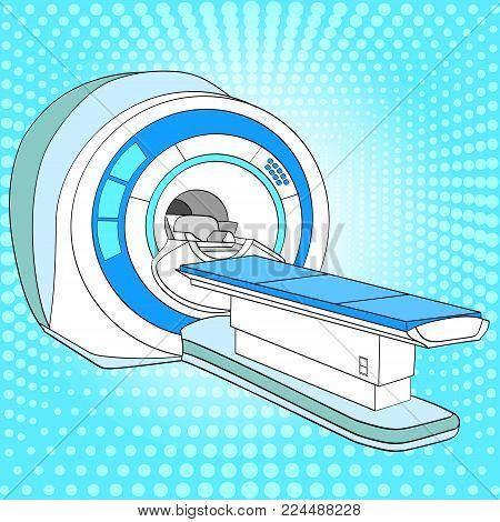 CT scanner computerized tomography scanner , MRI magnetic resonance imaging machine, medical equipment. Pop art vector illustration, color