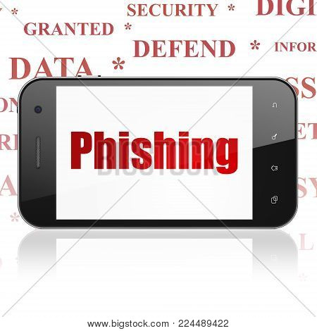 Protection concept: Smartphone with  red text Phishing on display,  Tag Cloud background, 3D rendering