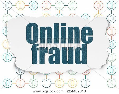 Safety concept: Painted blue text Online Fraud on Torn Paper background with Scheme Of Binary Code