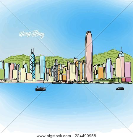 Hong Kong Colored Panorama Banner. Layout for Greeting Card and Banner Design. Marketing Sketch