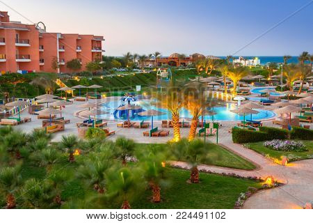 HURGHADA, EGYPT - APR 11, 2013: Tropical resort Three Corners Sunny Beach in Hurghada. Three Corners is Belgian company with 11 hotels at Red Sea in Egypt and one in Budapest, Hungary.