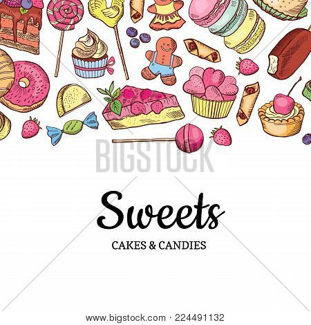Vector hand drawn colored sweets shop or confectionary background with lettering illustration