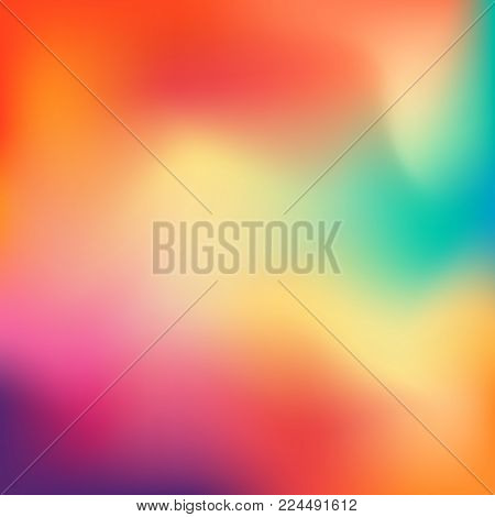 Colorful gradient mesh background in bright rainbow colors. Abstract blurred smooth image. Easy editable soft colored vector illustration. Soft color background. Modern screen vector design