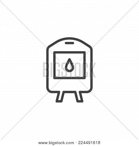 Blood transfusion line icon, outline vector sign, linear style pictogram isolated on white. Blood donation symbol, logo illustration. Editable stroke