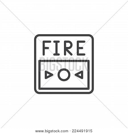 Fire alarm button line icon, outline vector sign, linear style pictogram isolated on white. Symbol, logo illustration. Editable stroke