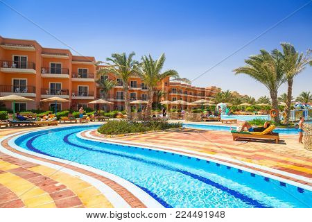 HURGHADA, EGYPT - APR 12, 2013: Tropical resort Three Corners Sunny Beach in Hurghada. Three Corners is Belgian company with 11 hotels at Red Sea in Egypt and one in Budapest, Hungary.