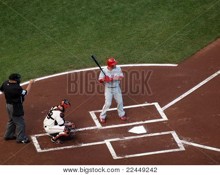 Shane Victorino Waits On Incoming Pitch With Buster Posey Catching
