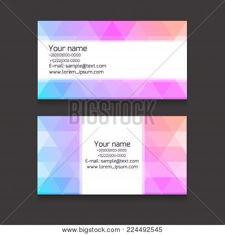 Multicolour business card template from polygonal elements. Vector abstract cards for  your business and design.