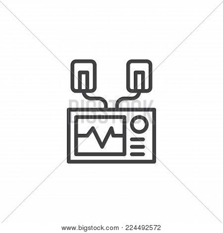 Automated external defibrillator line icon, outline vector sign, linear style pictogram isolated on white. AED symbol, logo illustration. Editable stroke