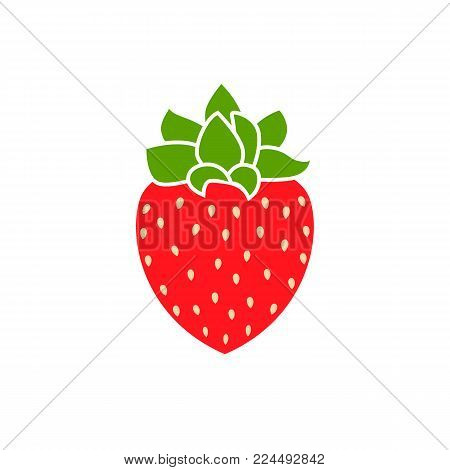 Strawberry Flat Vector. Red strawberry berry flat icon with inscription colorful vector illustration of eco food isolated on white.