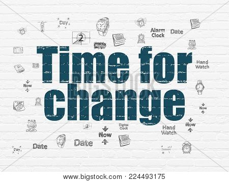Time concept: Painted blue text Time for Change on White Brick wall background with  Hand Drawing Time Icons