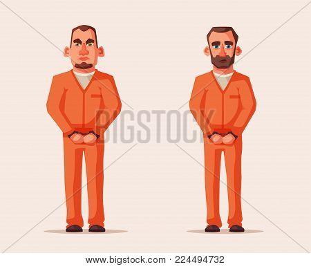 Prisoners in prison. Character design. Cartoon illustration. Criminal in orange uniform. Angry and sad defendants
