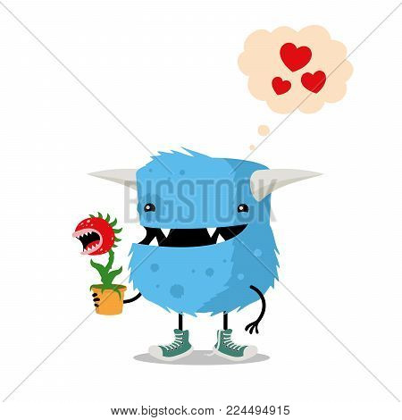 Funny cartoon monster holding carnivorous plant in a pot. Cute cartoon illustration for Valentine's Day