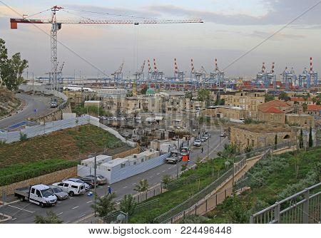 Haifa, Israel - November 27, 2017: cityscape of central part of city Haifa in Israel