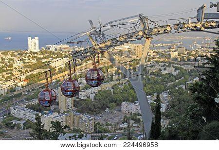 Haifa, Israel - November 27, 2017: top view of city Haifa in Israel