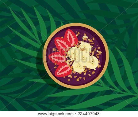 Tropical Energy Acai Bowl - Nutritious açai fruit smoothie bowl with strawberries, banana and granola topping. Refreshing and healthy meal over palm leaves on green background. Top view vector illustration