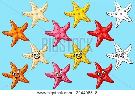 Big set cheerful cute starfishes with person and not of a pink, red, yellow, orange, beige colors and black contour line isolated on blue background. A cartoon vector illustration, page coloring book.