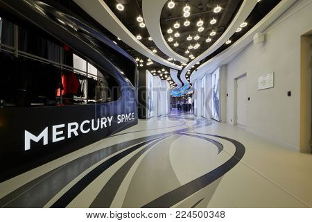 MOSCOW, RUSSIA - OCT 31, 2017: Reception zone in Mercury Space event place. It situated on 40th floor of Mercury tower of Moscow-City business complex.