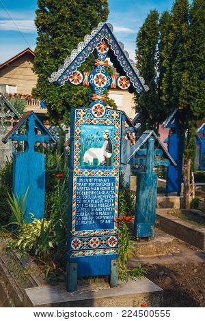Sapanta, Romania - 04 July, 2015- The Merry Cemetery Of Sapanta, Maramures, Romania. Those Cemetery