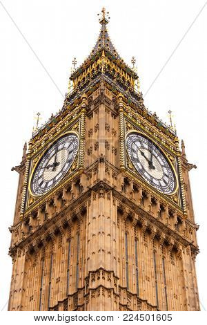 Upper part of Elizabeth Tower aka Big Ben clock tower, Westminster Palace, City of Westminster, Central Area of Greater London, UK, isolated on white background