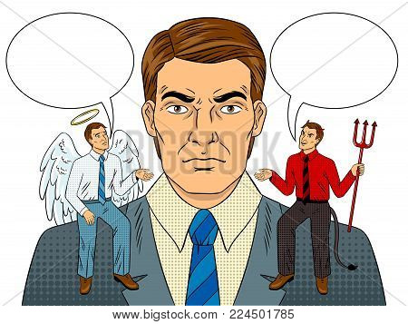 Devil and angel on businessman shoulders pop art retro vector illustration. Isolated image on white background. Metaphor of good and evil. Comic book style imitation.