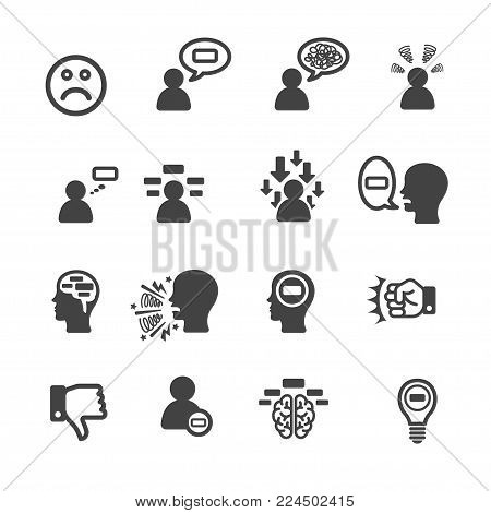 negative thinking icon mind icon set vector illustration