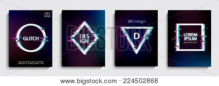Set of geometric shapes, frames with glitch style on dark background. Vector illustration with geometric frames for business and gift cards, invitations, flyers, banners, posters and other design.