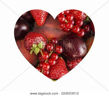 Berries in heart shape isolated on a white. Heart shape assorted berry fruits on white background. Ripe red currants, strawberries, plums and peaches. Mixed berries with copy space for text. Various fresh summer berries on white background. Top view.