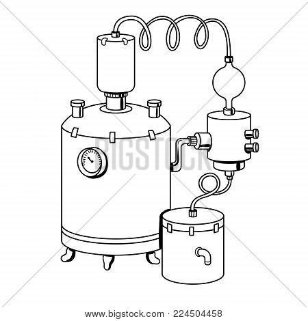Alcohol distilling machine coloring vector illustration. Isolated image on white background. Comic book style imitation.