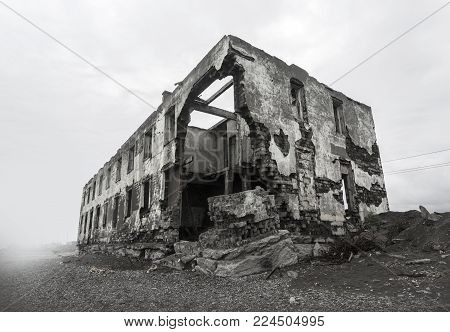 ruins of the destroyed house. Hot spots on the planet.