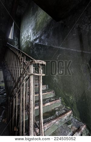 the Abandoned house.Staircase in an abandoned house