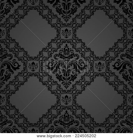 Orient vector classic pattern. Seamless abstract background with vintage elements. Orient dark background
