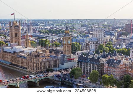 London - August 19, 2017: Cityscape View From The London Eye.
