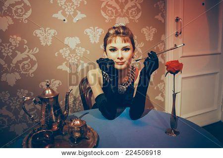 London, United Kingdom - August 24, 2017: Madame Tussauds wax museum in London. Wax figure Audrey Hepburn