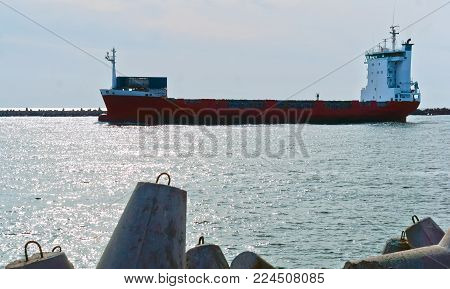cargo ship at sea, the ship returned to port in the Baltic sea