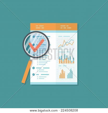 Business report, document with magnifying glass. Audit result.  Isolated icon. Charts graphs on a paper.  Vector illustration