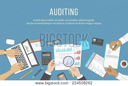 Business meeting, audit,  calculation, data analysis, reporting, accounting. People at the desk at work. Human hands on a table with documents, graphs, charts, notebook, phone, laptop. Vector