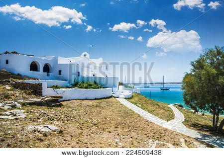 Traditional white monastiri in Paros Island, Greece.  Photo of a picturesque chapel in Cyclades islands