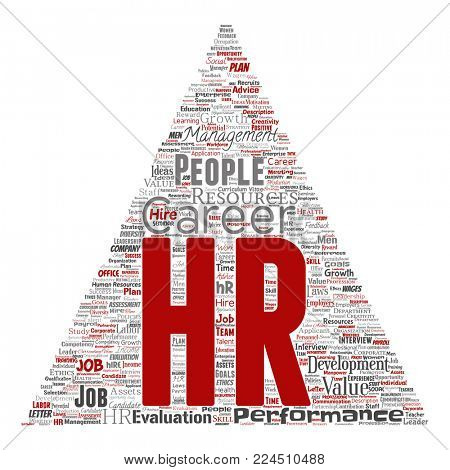 Concept conceptual hr or human resources career management triangle arrow word cloud isolated background. Collage of workplace, development, hiring success, competence goal, corporate or job