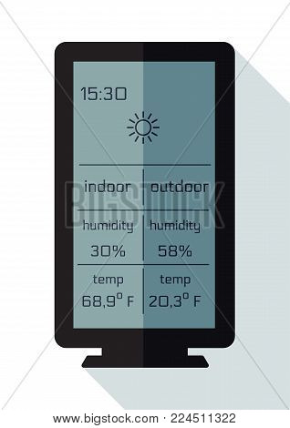 Home weather station widget, flat. Weather station home equipment, indicated temperature in Fahrenheit degrees and relative humidity in percents indoor, outdoor. Wireless climate monitoring equipment