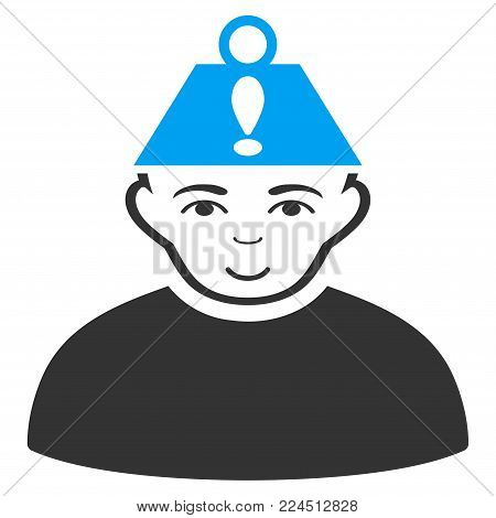 Head Stress vector pictogram. Style is flat graphic bicolor symbol, blue and gray colors, white background.
