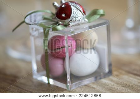 colored sugared almonds in a glass  bonbonnière