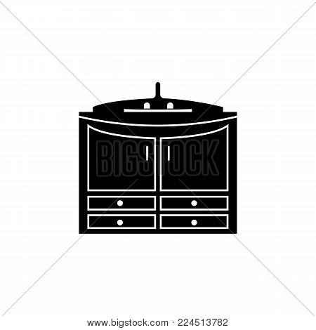 cabinet under the sink icon. Bathroom and sauna element icon. Premium quality graphic design. Signs, outline symbols collection icon for websites, web design, mobile app, info graphics on white background