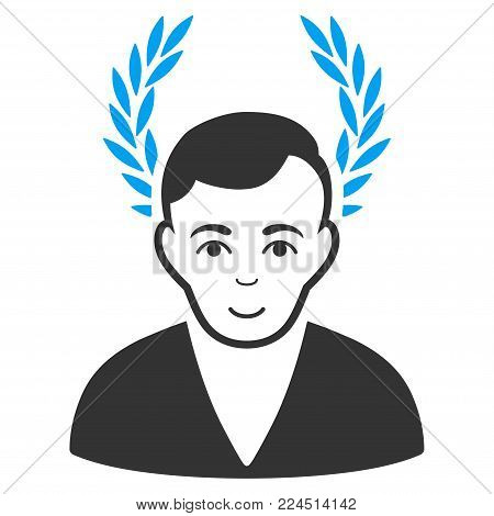 Man Glory vector pictograph. Style is flat graphic bicolor symbol, blue and gray colors, white background.