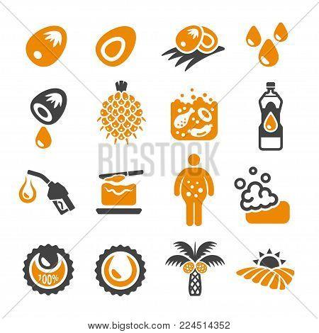 oil palm icon set food icon vector illustration
